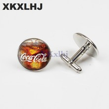XKXLHJ 1 Pair New Fashion Cuff links For Men Glass Full Of Coke Cufflinks Round Glass Handmade Cuff Links Photo Cuff Link(China)