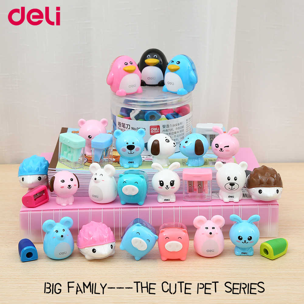 Deli mini sharp pencil sharpeners mini cute pet series colorful kawaii animals 0.8 & 1.2cm diameter hole thicker/bigger pencil