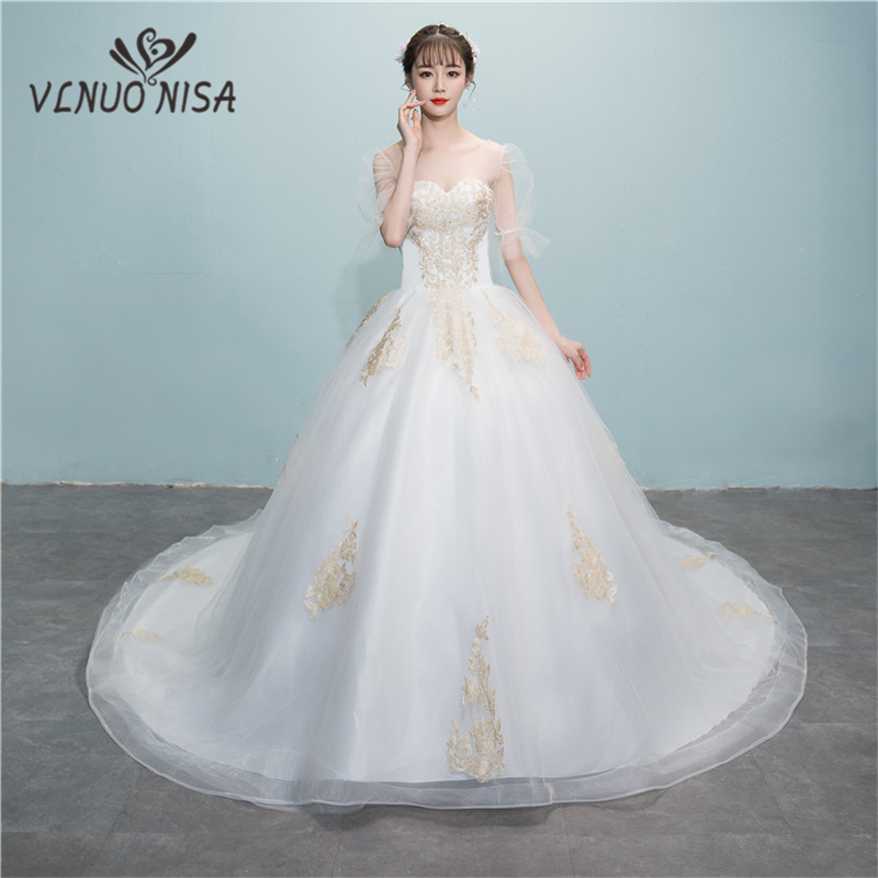 Hot Sale Appliques Ball Gown Chapel Train Wedding Dresses 2018 New Lace Illusion Lantern Sleeve  Wedding Gowns Bridal Dress 8