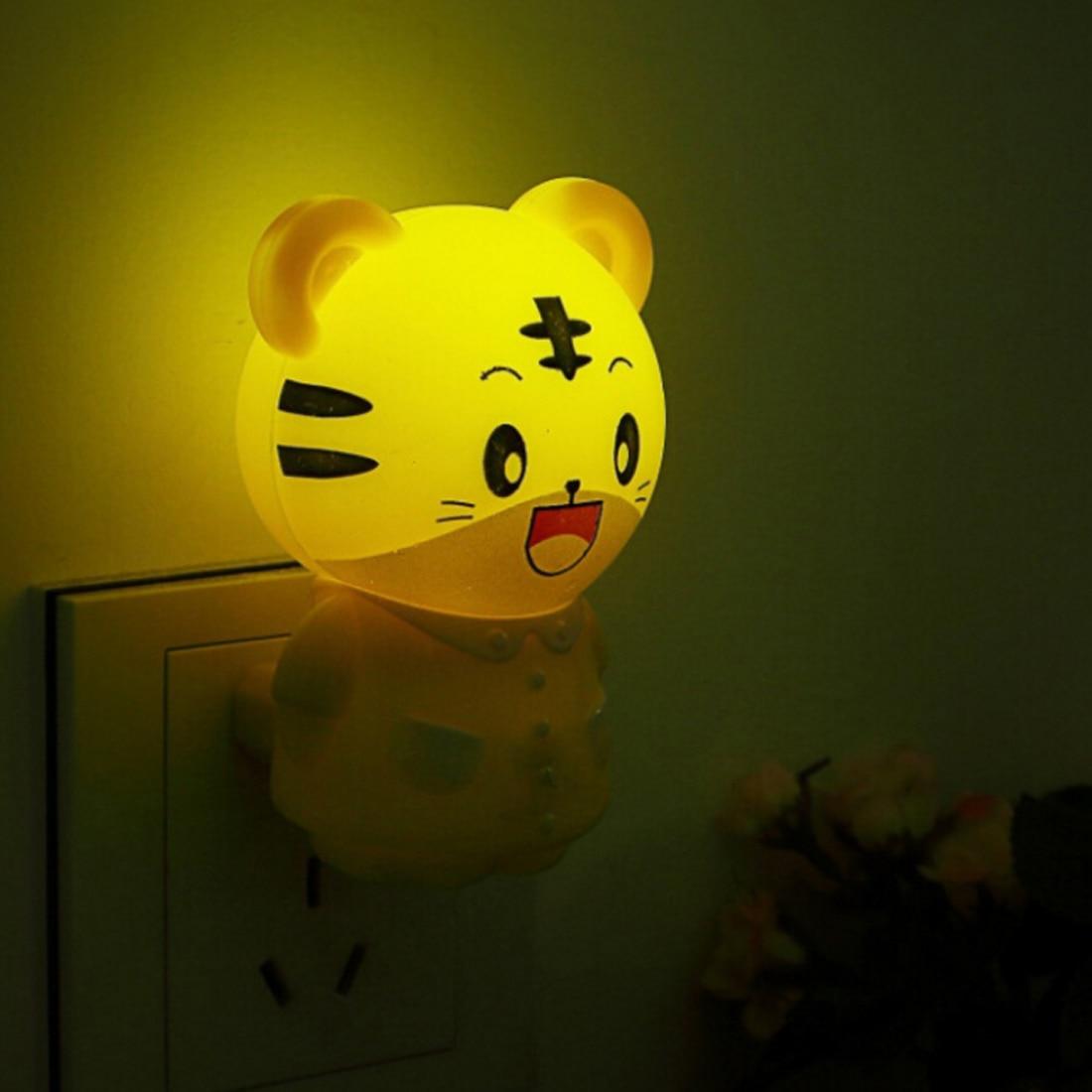 Sleeping Night Lamp Novelty Lights US Plug LED Night Light In Tiger / Bear Cartoon Style Baby Lights LED Bulb