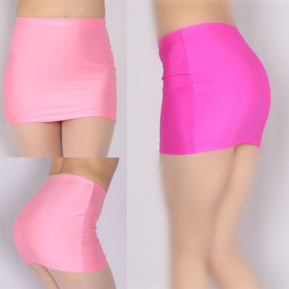 Wetlook Elastic Sexy Package Hip Pencil Skirt High Waist Korean Skirt Micro Mini Skirts Pink Kawaii Miniskirt Jupe Streetwear