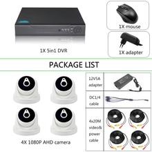 YiiSPO 4CH CCTV الأمن عدة 1080P كاميرا ahd HD CCTV عدة HDMI VGA خارج عرض الهاتف داخلي/مقاوم للماء P2P 2.0MP 1080N DVR 20 mكابل