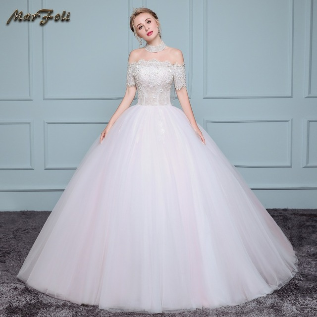 Special Wedding dress with beaded lace off the shoulder neckline ...