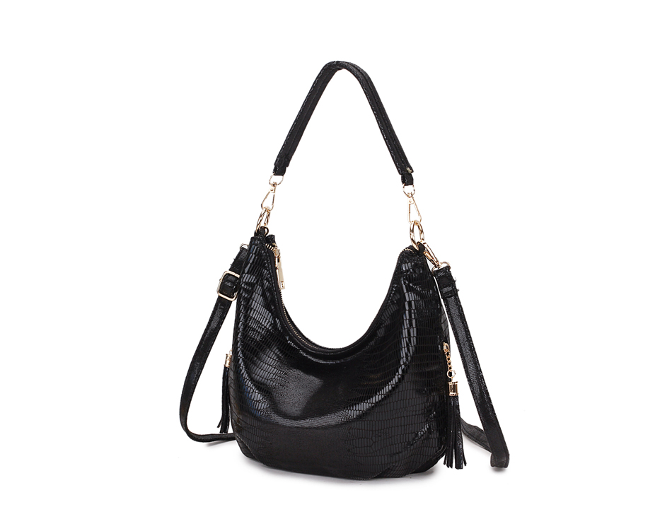 Assel Hobo Women Shoulder Bag Soft Leather Women Handbag Vintage Messenger Bag Black Crossbody Bags Female Bag