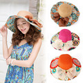 Feitong Women Summer Foldable Wide Large Brim Floppy Beach Hat Sun Straw Hat Free Shipping