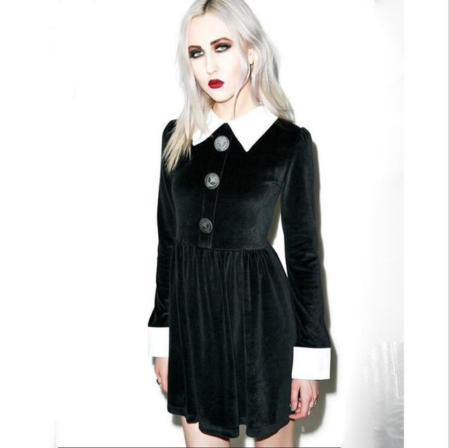 Fashion Ladies Long Sleeve Turn Down Collar Gothic Style Vintage Velvet A Line Dress  1