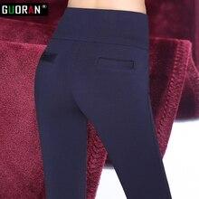 Pantalones gruesos de terciopelo para mujer, pantalón de invierno, negro, rojo y azul, de cintura alta, lápiz elástico, pantalón de oficina de lana, 2016