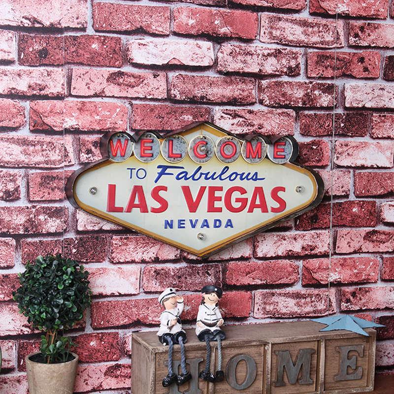 Enseigne néon Las Vegas peinture décorative Plaque métal Bar décor mural peinture Plaque lumineuse bienvenue Arcade néon panneaux de LED