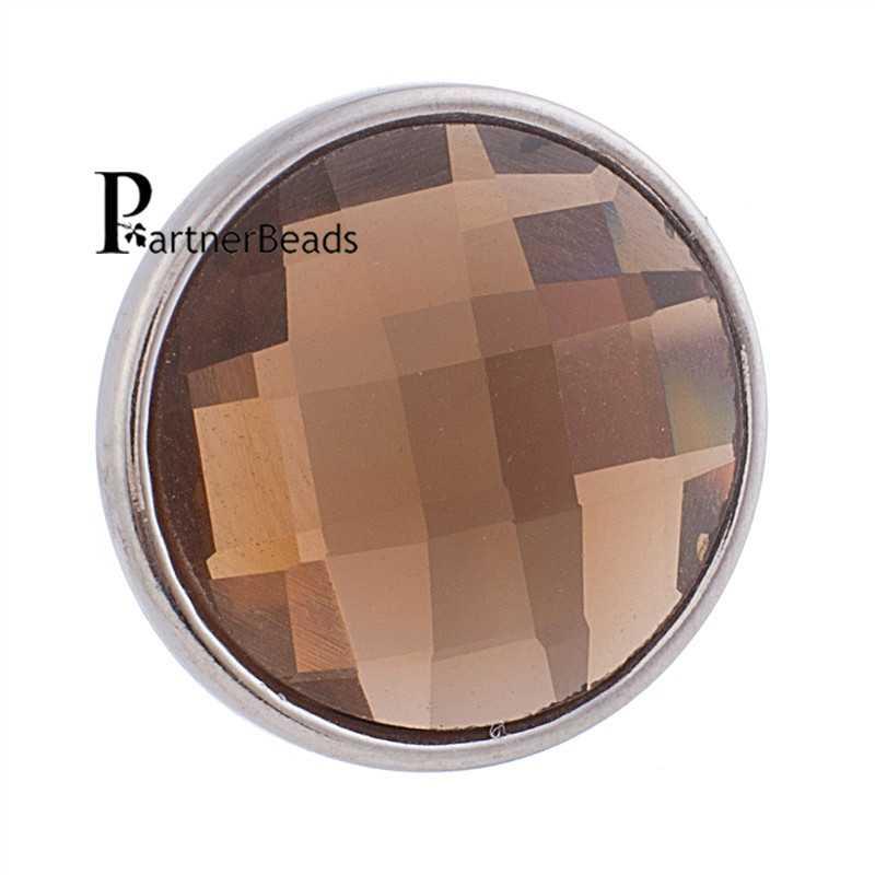 18mm facetté cristal s'enclenche facette verre boucle d'oreille fit boucle d'oreille anneau KB2701-AI