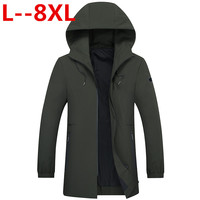 Plus 9X 8XL 6XL 5XL 4XL 2018 new trench coat men brand clothing Top Quality male long army green trench coat windbreaker jacket
