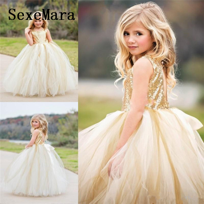 New Top Gold Sequins Puffy Tulle   Girls   Birthday   Dress   Pageant Gown O Neck Backless   Flower     Girls     Dress   for Wedding Party Any Size