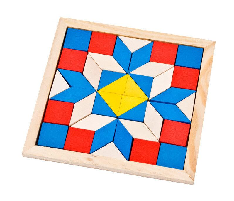 Wooden Fun Geometry Rhombus Tangrams Logic Puzzles Children Early Education Toys