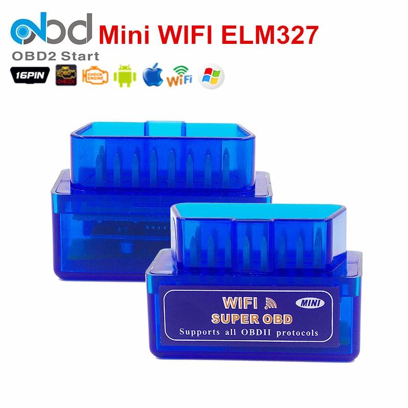 Prix pour Qualité WIFI Super OBD ELM327 De Voiture De Diagnostic Scanner Travaux Sur Téléphone Intelligent Android/iOS ELM 327 WiFi OBDII Testeur livraison Gratuite