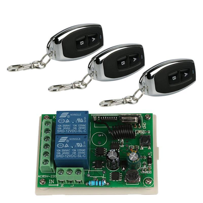 Universal 433MHz RF 2-Channel Remote Control Learning Code(1527/EV1527) Key Fob Transmitter 3pcs+2 Channel Relay Receiver Module 433 mhz rf 4 channel remote control learning code 1527 transmitter and 2 ch relay receiver module diy wireless garage switch set