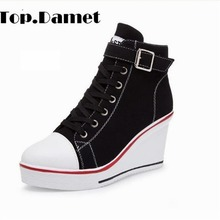 Top.Damet Women Fashion Canvas Wedges Platform Sneakers Heel