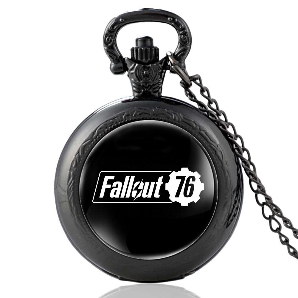 Fashion Black Fallout 76 Electronic Games Quartz Pocket Watch