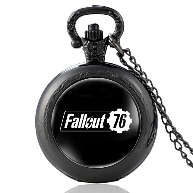 Fashion Black Fallout 76 Electronic Games Quartz Pocket Watch