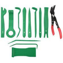 12Pcs Mixed Auto Fastener Auto Car Fastener Bumper Clips Plier Interior Trim Radio Stereo Dashboard Removal Hand Tool