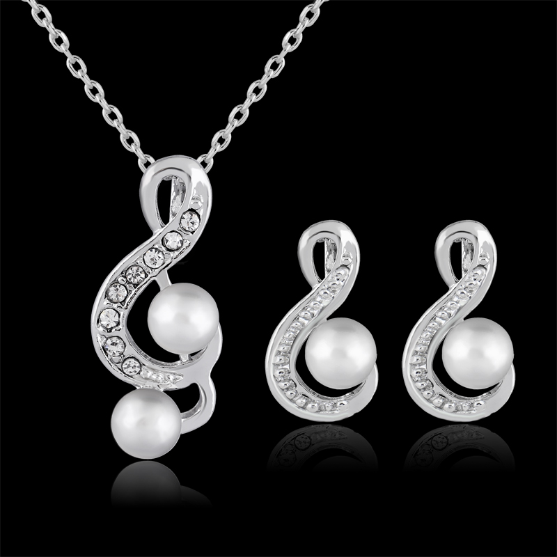 Fashion Fascinating Concise Musical Note Simulated font b Pearl b font Rhinestone Necklace font b Earring