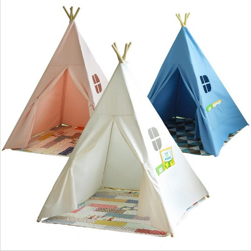 Baby playpens Four Poles Children Teepees Kids Play <font><b>Tent</b></font> Cotton Canvas Teepee White Playhouse for Baby Room Tipi