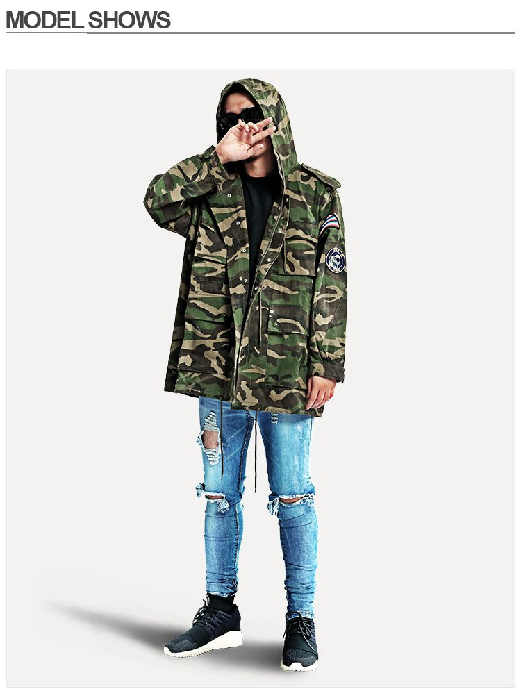 e471c473f7590 PROVERGOD Hot Mens Extended Camouflage Jackets Hip Hop Autumn ...