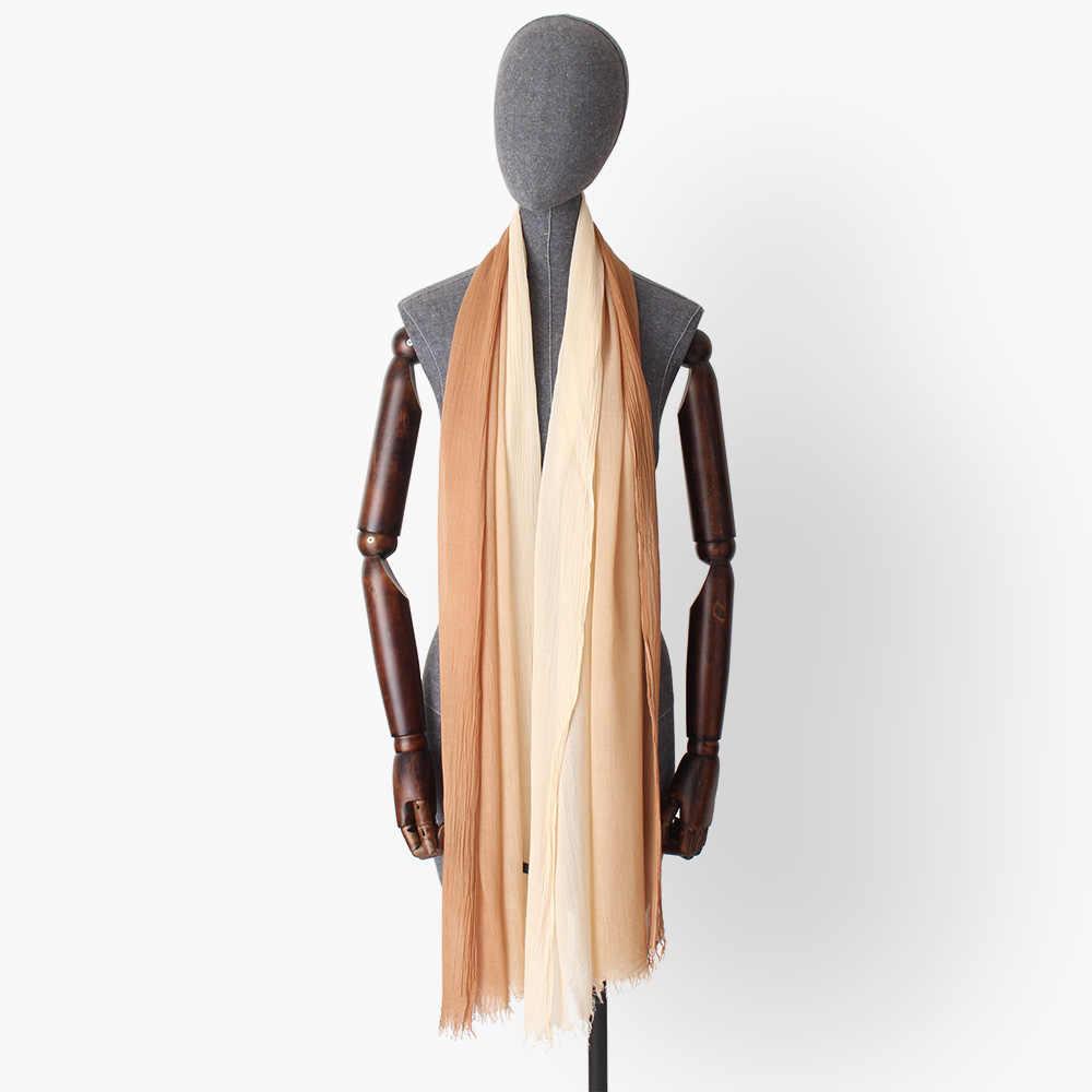 Gradiente de cor de impressão 100% algodão modal mulheres longa e fina enrugada lenços de seda lenços lady hijab xaile wraps luxo de alta qualidade