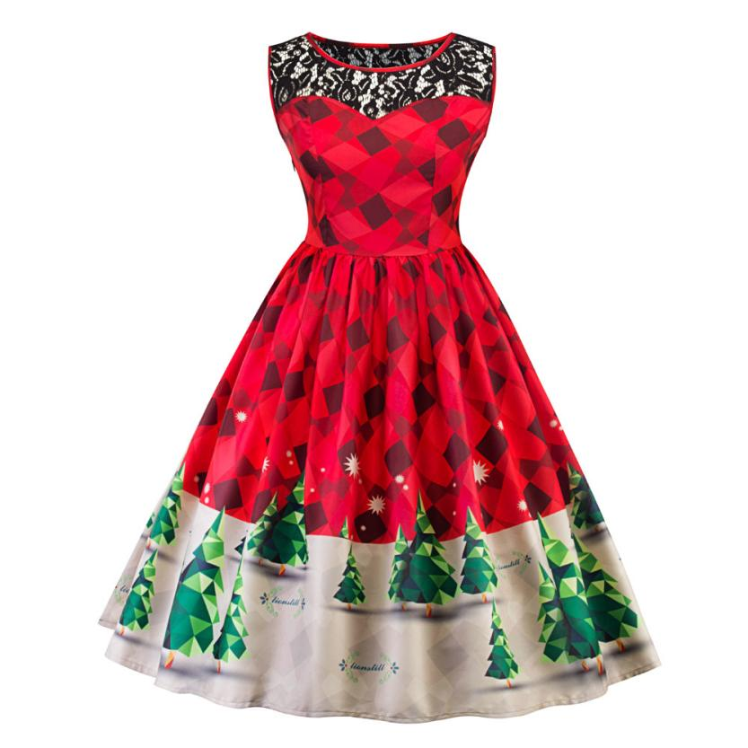 snowshine #5003  Women Print Lace Christmas Tree Firefly Checkered Vintage Snow Swing Dress