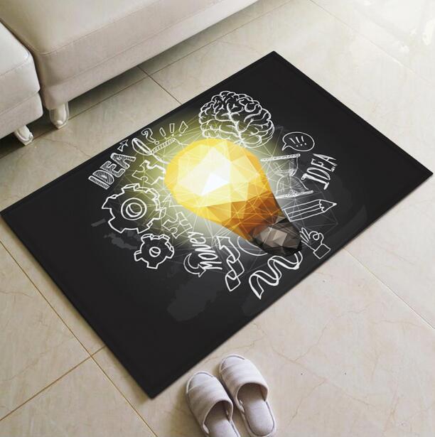 3D Light Bulb Doormat Area Rugs Floor Carpet Non-slip Floor Door Mats for coffee house Living Room Kitchen Floor Stairs Area mat
