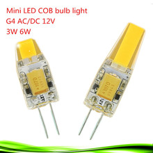 1x Mini G4 LED Lamp COB LED G4 Bulb 3W 6W AC/DC 12V LED Light Dimmable 360 Beam Angle Chandelier Lights Replace Halogen Lamps(China)