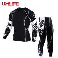 UMLIFE Men Running Sets Fitness Compression Sport Suits Bodybuilding Tight T Shirt Pants Quick Dry Tracksuit