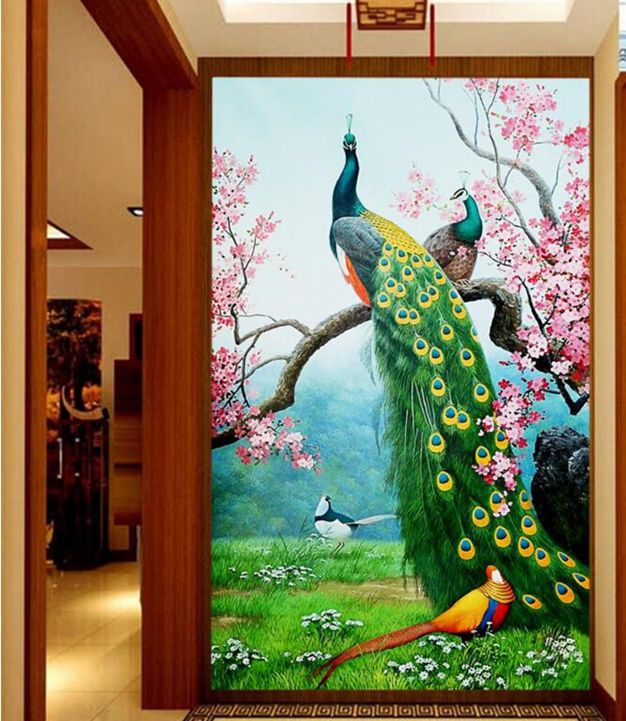 Custom 3D murals,The Colorful Peacock bird entrance papel de parede,hotel restaurant living room sofa TV wall bedroom wallpaper custom 3d murals cartoon wolf papel de parede hotel restaurant coffee shop living room sofa tv wall children bedroom wallpaper