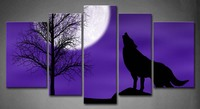 Framed Wall Art Pictures Wolf Cloudy Night Moon Canvas Print Artwork Animal Posters With Wooden Frames For Living Room