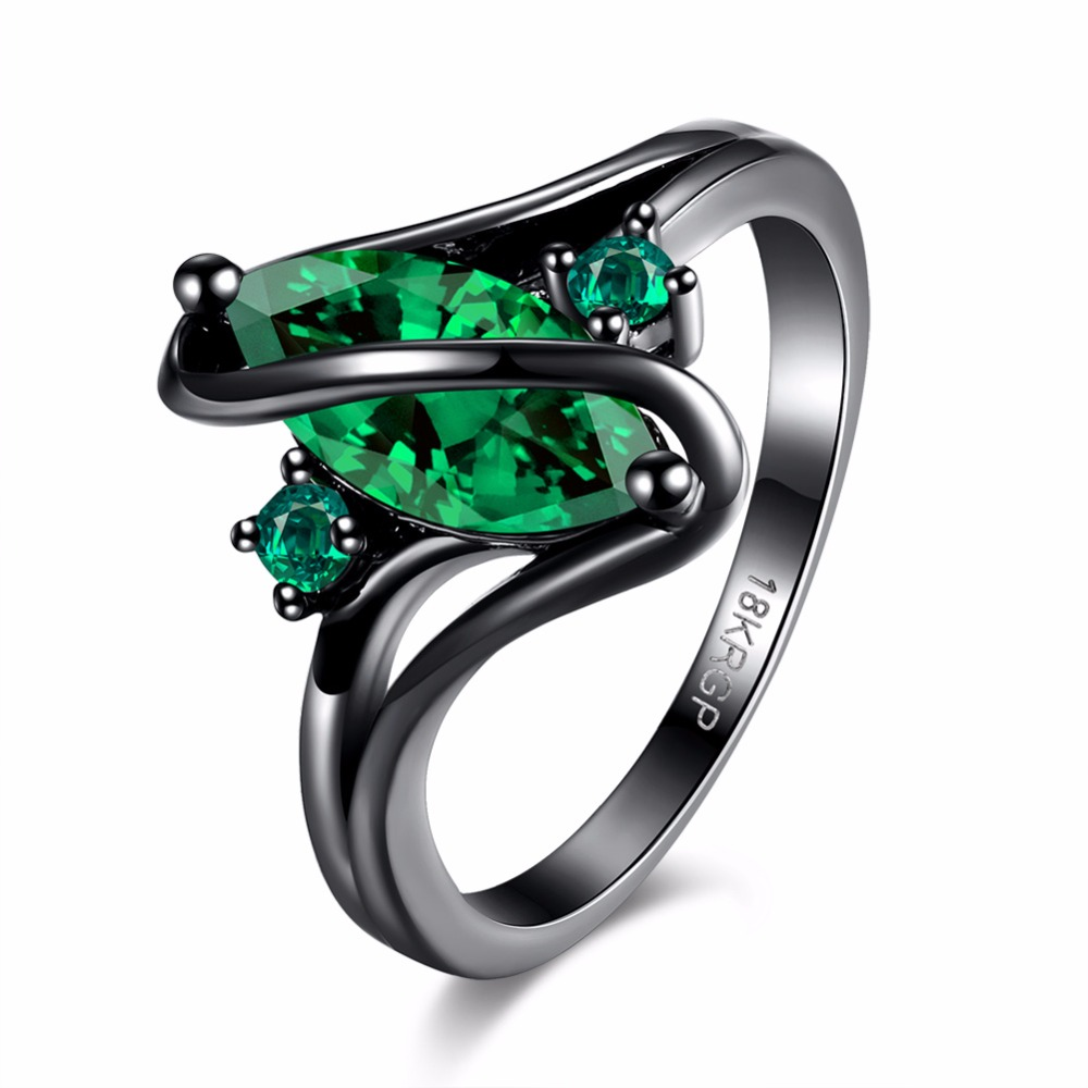 Free shipping quality craftsmanship classic geometric S-shaped mosaic green zircon black shielded retro ring