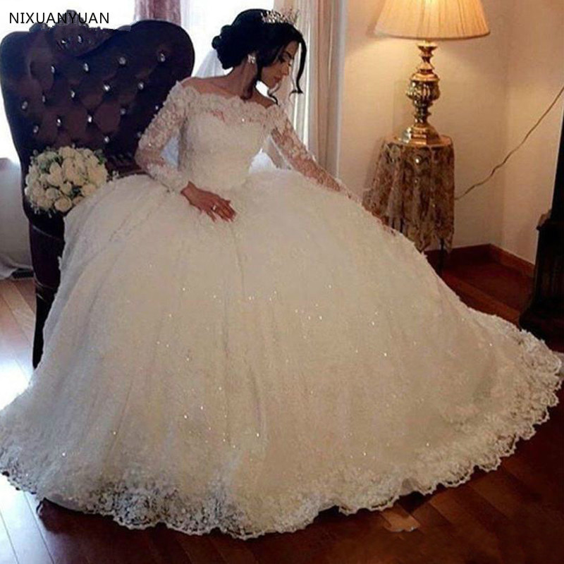 Long Sleeve Lace Wedding Dresses Ball Gown Tulle Plus Size Off Shoulder Bride Bridal Weding Weeding Dresses Wedding Gowns 2020