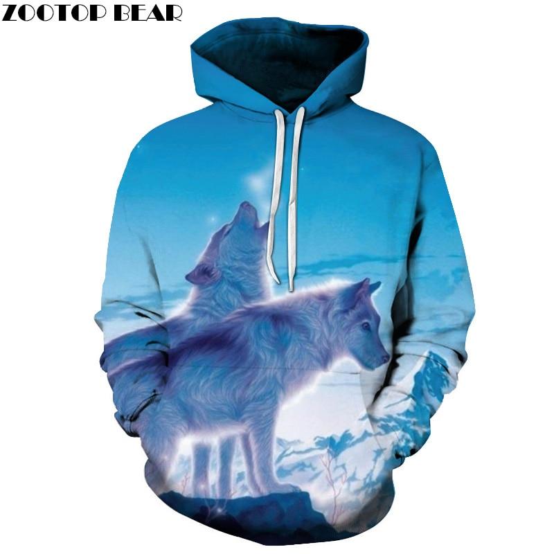Wolf Printed 3D Hoodies Men Women Sweatshirts Unisex Coats Animal Autumn Fashion Tracksuits Hooded Pullover Boy Brand Hoodies