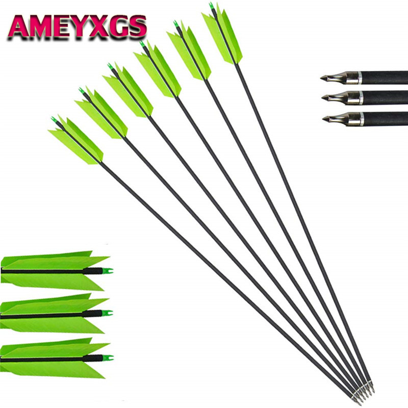 """12pc 30/"""" Carbon Arrows Target OD 7.8mm Archery Spine 500 F Compound Bow Hunting"""