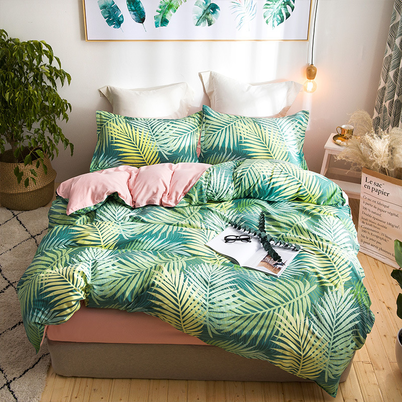 Green Leaf Bedding Set AB Side Winter Bed Linens 3 Or 4pcs/set Duvet Cover Set European Style Bed Set Bird Fresh Bedclothes Twin