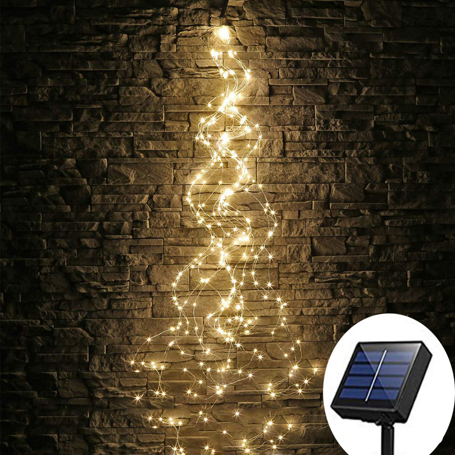 Outdoor Solar Powered 10X2M 200 LED Vines Branch String Lights Copper Wire Christmas Fairy Lights For Wedding Festival DIY Decor