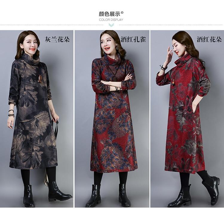 2019 New Women Spring Autumn Dresses Turtleneck Printed Female Long Sleeve Vintage Robe Dress Vestido 61