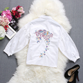 2017 Spring New Beautiful Floral Embroidery Blouses Shirts Sweet Bow Collar 3 Quarter Lantern Sleeve Women Stylish White Tops