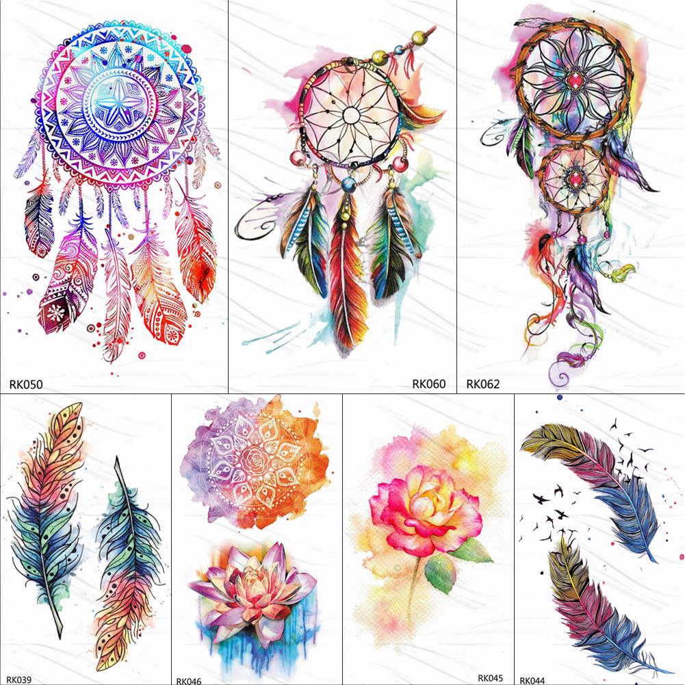 OMMGO Tribal Dream Catcher Feather Temporary Tattoos Sticker Colorful Henna Custom Tattoo Body Art Arm Waterproof Fake Tatoos