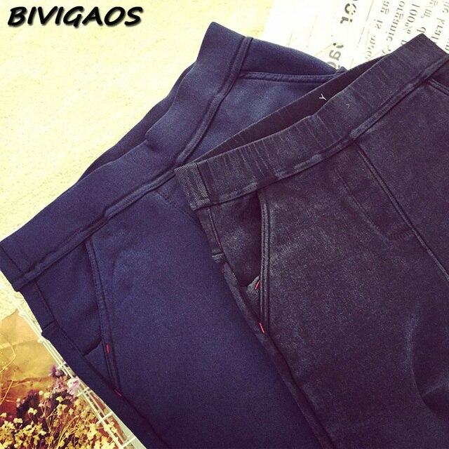 2016 Winter Womens New Slanting Pocket Thicken Fleece Jeans Leggings Warm Pencil Pants Leggings Washed Elastic Denim Jeans Women