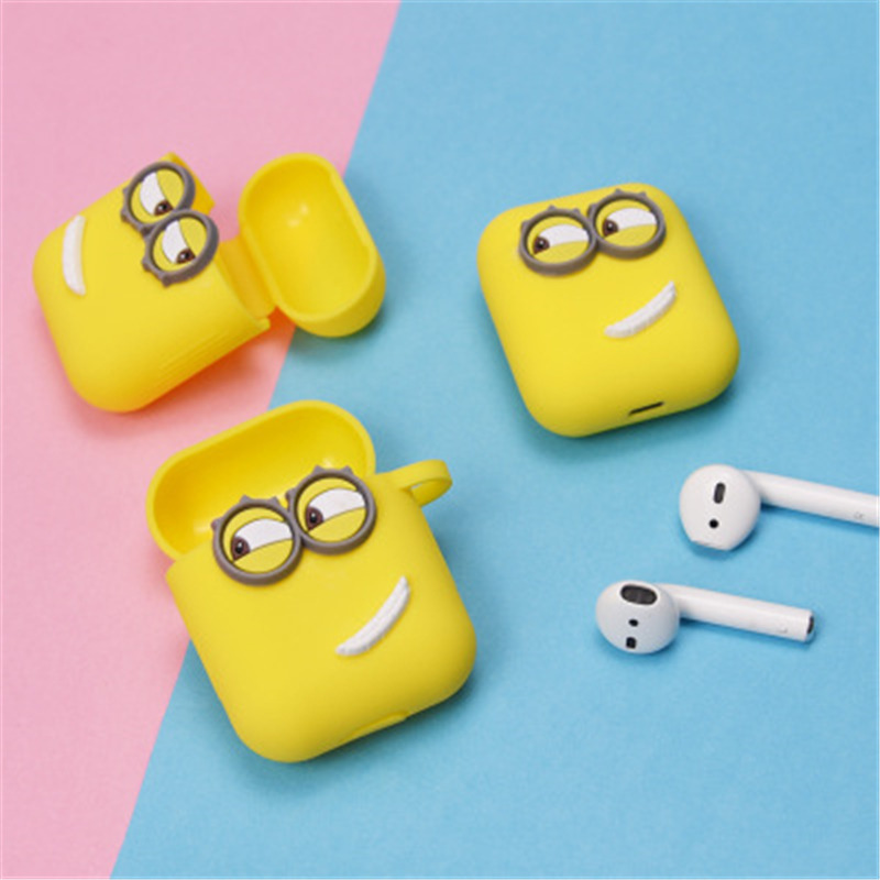 Cute Yellow Silicone Earphone Case For Apple Airpods i7 i10 TWS bluetooth Headphone Case Earphone Accessories For gifts-in Earphone Accessories from Consumer Electronics