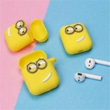 Śliczne żółty silikon słuchawki Case dla Apple Airpods i7 i10 TWS słuchawki z bluetooth Case akcesoria do słuchawek na prezenty