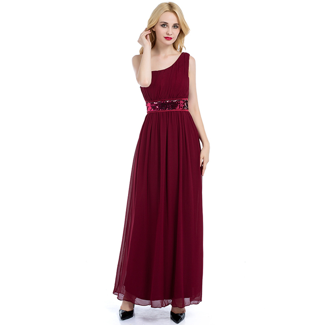 Cheap Party Dress Bridesmaid Gown One Shoulder Chiffon Long ...