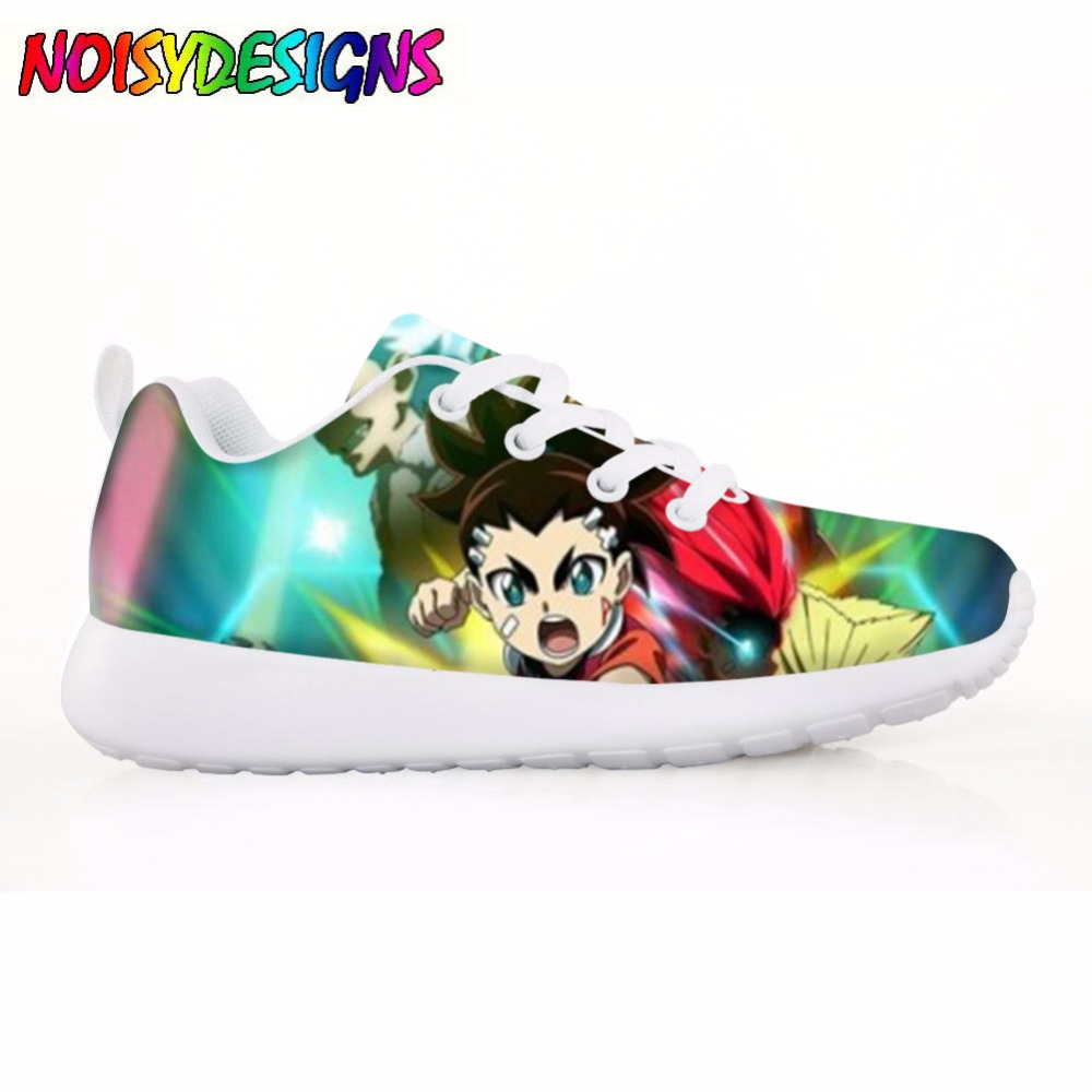 Cool Children's Shoes Flats Casual Comfortable Shoes for Kids 3D Beyblade Burst Pattern Girls Boys Autumn Light Lace Up