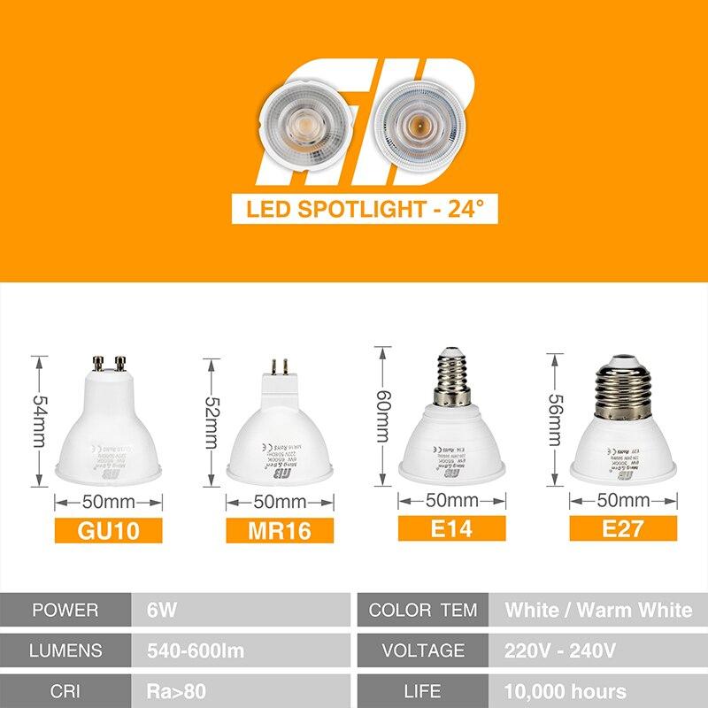 10pcs LED Light Bulb Spotlight GU10 MR16 E14 E27 6W 220V COB Chip Beam Angle 24 120 Degree Spotlight For Table Lamp Wall Light