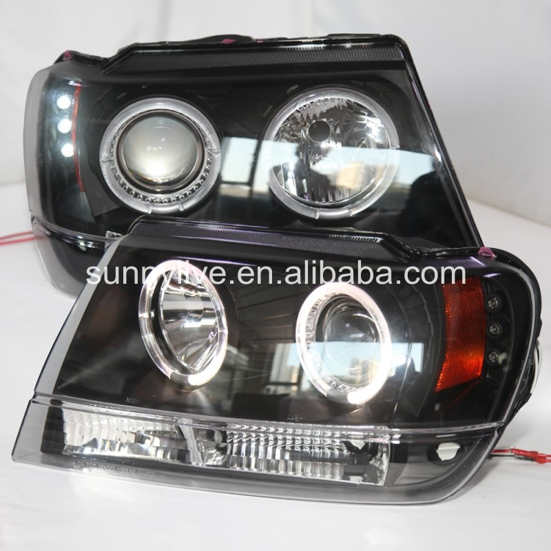 For Chrysler Grand Cherokee LED Head Light Angel Eyes 1999-2004 SN