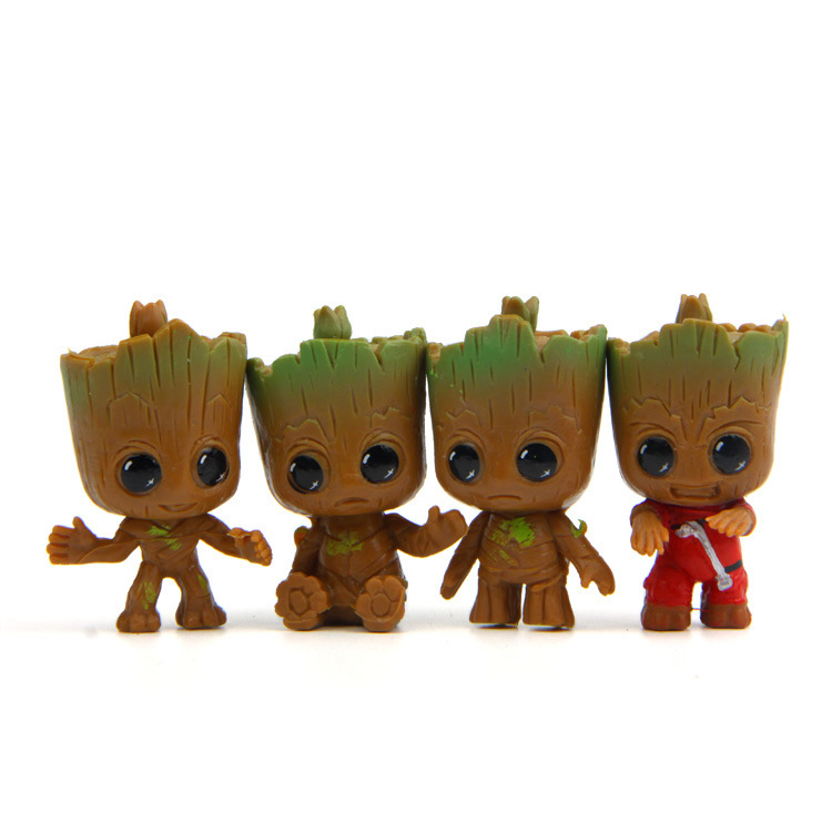4pcs/set New Cute Brinquedos Guardians Of The Galaxy Mini Cute Groot Baby Tree Model Action And Toy Figures Cartoon Cake Doll цена