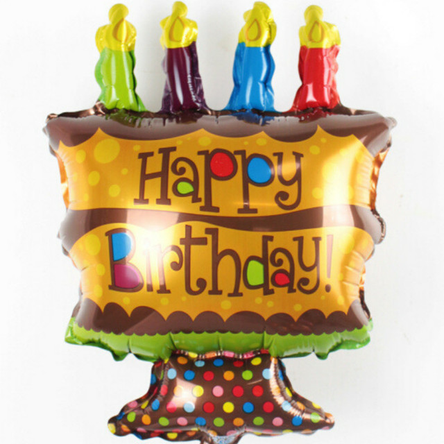 Hot Big Size Chocolate Cake Balloon Happy Birthday Foil Balloons For Party Supplies Helium
